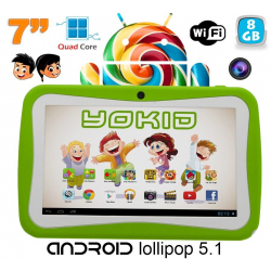 Tablette tactile enfant YOKID 7 pouces quad core android 5.1 Vert - www.yonis-shop.com