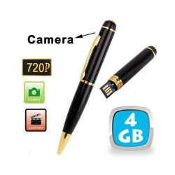 Stylo camera espion HD 720p mini appareil photo USB Noir et Or 4 Go - www.yonis-shop.com