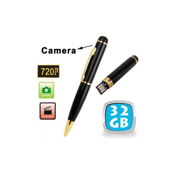 Stylo camera espion HD 720p mini appareil photo USB Noir et Or 32 Go - www.yonis-shop.com