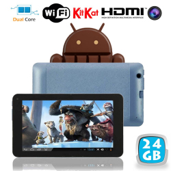 Tablette tactile Android 4.4 KitKat 7 pouces Dual Core Bleu 24 Go