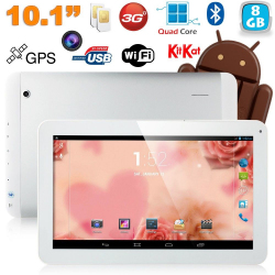 Tablette tactile 10 pouces 3G Double SIM Quad Core WiFi GPS 16Go Blanc