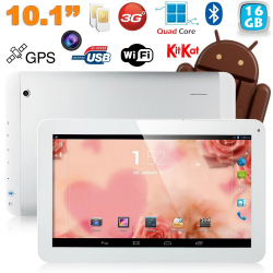 Tablette tactile 10 pouces 3G Double SIM Quad Core WiFi GPS 24Go Blanc