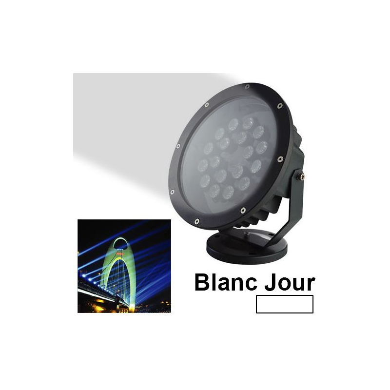 projecteur led spot blanc jour ext rieur clairage jardin 18w 1440lm. Black Bedroom Furniture Sets. Home Design Ideas