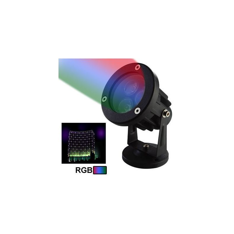 Projecteur ext rieur led rgb aluminium vert rouge bleu 6w for Spot led bleu exterieur