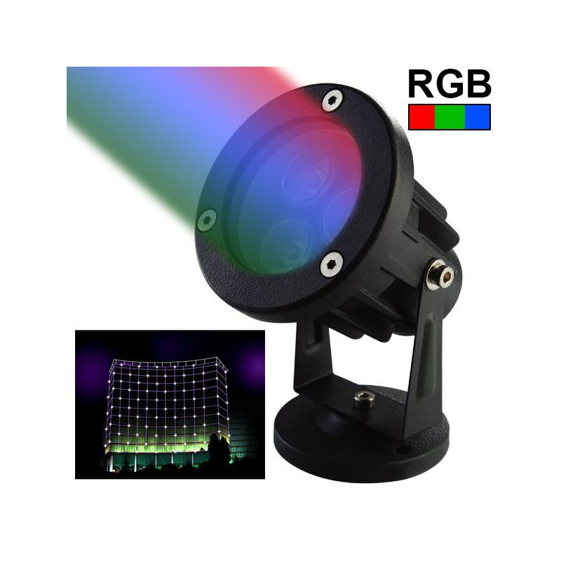 projecteur ext rieur led spot lumineux rgb vert rouge bleu 3w 240lm. Black Bedroom Furniture Sets. Home Design Ideas