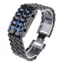 Montre LED design bracelet réglable pas cher metal gris LED bleu - www.yonis-shop.com