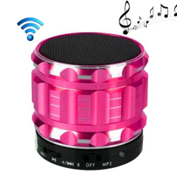 Mini Enceinte bluetooth kit mains libres micro SD USB métal Rose - www.yonis-shop.com