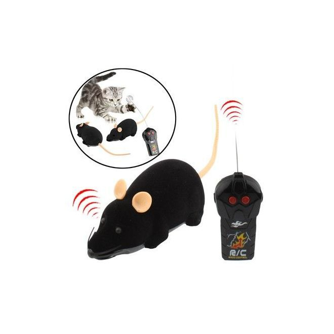 mini souris lectronique t l command e jouet pour chat chien noir. Black Bedroom Furniture Sets. Home Design Ideas