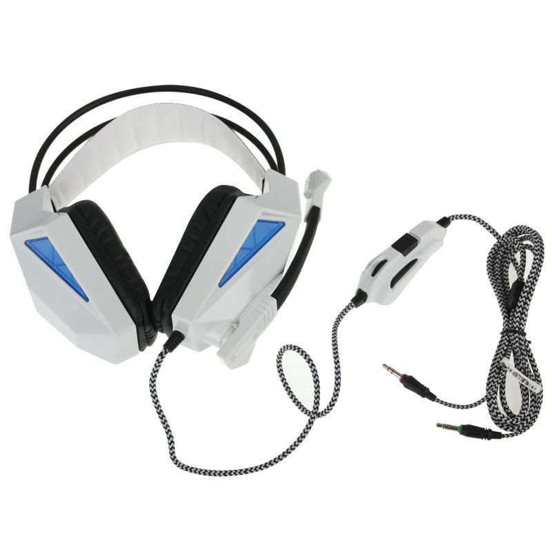 casque gamer pc microphone c ble 2 m tres gaming st r o blanc. Black Bedroom Furniture Sets. Home Design Ideas