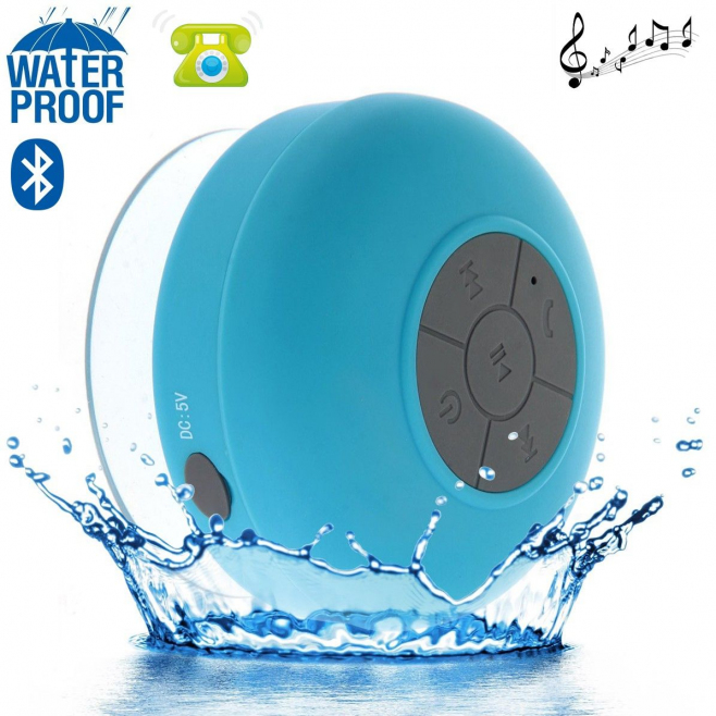 Mini enceinte Bluetooth ronde kit main libre ventouse waterproof bleu