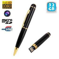 Stylo camera espion Full HD 1080p mini appareil photo Micro SD 32Go