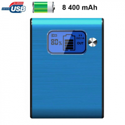 Batterie externe 8400mAh double port USB écran digital LED Bleu