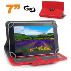 Etui de protection tablette 7 pouces 360 ° simili cuir Rouge - www.yonis-shop.com