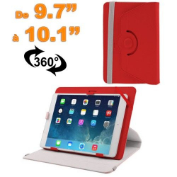 Housse universelle tablette 9.7 - 10.1 pouces support 360° Rouge