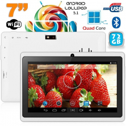 Tablette 7 pouces bluetooth Quad Core Android 4.4 KitKat 68 Go Blanc - www.yonis-shop.com