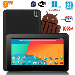 Tablette tactile 9 pouces Android 4.4 Bluetooth Quad Core 24Go Noir