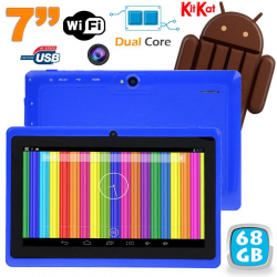 Tablette tactile Android 4.4 KitKat 7 pouces Dual Core 68 Go Bleu - www.yonis-shop.com