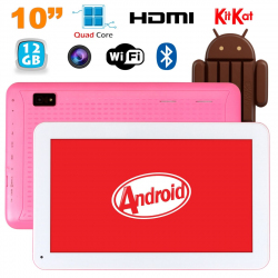 Tablette 10 pouces Android KitKat Bluetooth Quad Core 12Go Rose - www.yonis-shop.com