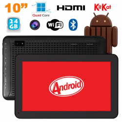 Tablette 10 pouces Android KitKat Bluetooth Quad Core 24Go Noir - www.yonis-shop.com