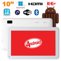 Tablette 10 pouces Android KitKat Bluetooth Quad Core 12Go Blanc - www.yonis-shop.com