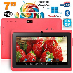 Tablette 7 pouces Bluetooth Quad Core Android 5.1 Lollipop 16Go Rose