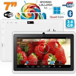 Tablette 7 pouces bluetooth Quad Core Android 4.4 KitKat 20 Go Blanc - www.yonis-shop.com