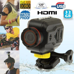Mini Caméra sportive Full HD waterproof Grand angle étanche HDMI 32 Go - www.yonis-shop.com