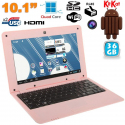 Mini PC Android ultra portable netbook 10 pouces WiFi 36 Go Rose - www.yonis-shop.com