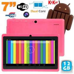 Tablette tactile Android 4.4 KitKat 7 pouces Dual Core 12 Go Rose - www.yonis-shop.com