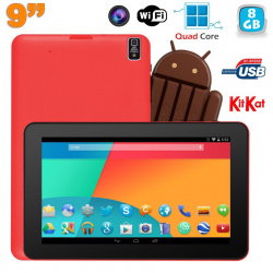 Tablette tactile 9 pouces Android 4.4 Bluetooth Quad Core 8Go Rouge - www.yonis-shop.com
