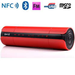 Enceinte Bluetooth universelle portable FM kit mains-libres NFC Rouge - www.yonis-shop.com