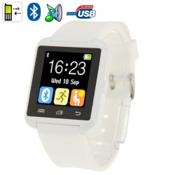 Montre Connectée Bluetooth Android ecran LCD kit main libre Blanc