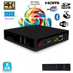 Android TV BOX 4K Mini PC Octa Core 64 bits Bluetooth Wifi 8Go - www.yonis-shop.com