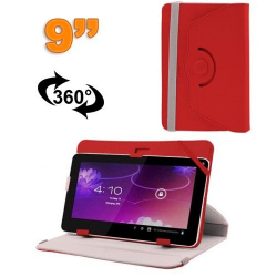 Housse universelle tablette 9 pouces protection support 360° Rouge