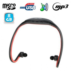Casque MP3 sport lecteur audio sans fil running vélo rouge 8 Go - www.yonis-shop.com