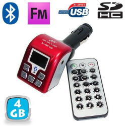 Transmetteur FM Bluetooth USB kit main libre voiture 4 Go