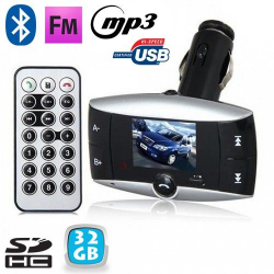 Transmetteur FM voiture Bluetooth MP3 USB Carte SD Jack 3.5mm 32 Go