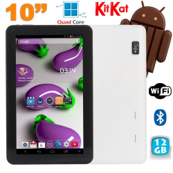 Tablette 10 pouces Quad Core Android 4.4 WiFi Bluetooth 12Go Blanc - www.yonis-shop.com