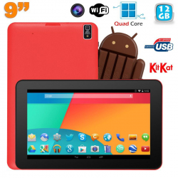Tablette tactile 9 pouces Android 4.4 Bluetooth Qad Core 12Go Rouge - www.yonis-shop.com