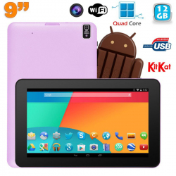 Tablette tactile 9 pouces Android 4.4 Bluetooth Quad Core 12Go Violet