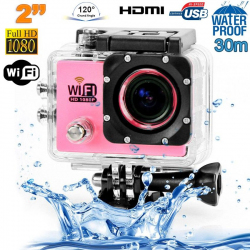 Camera sport wifi étanche caisson waterproof 12 MP Full HD Rose - www.yonis-shop.com