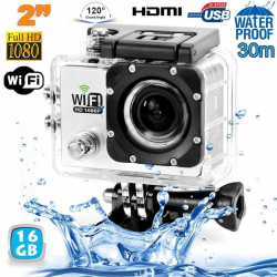 Camera sport wifi étanche caisson waterproof 12 MP Full HD Blanc 16Go - www.yonis-shop.com