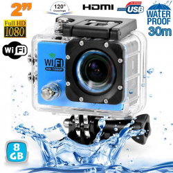 Camera sport wifi étanche caisson waterproof 12 MP Full HD Bleu 8Go - www.yonis-shop.com