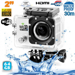 Camera sport wifi étanche caisson waterproof 12 MP Full HD Blanc 64Go - www.yonis-shop.com