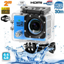 Camera sport wifi étanche caisson waterproof 12 MP Full HD Bleu 64Go - www.yonis-shop.com