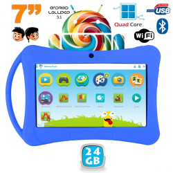 Tablette enfant 7 pouces Android 5.1 Bluetooth Quad Core 24Go Bleu - www.yonis-shop.com