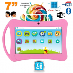 Tablette enfant 7 pouces Android 5.1 Bluetooth Quad Core 72Go Rose - www.yonis-shop.com