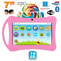 Tablette enfant 7 pouces Android 5.1 Bluetooth Quad Core 16Go Rose - www.yonis-shop.com