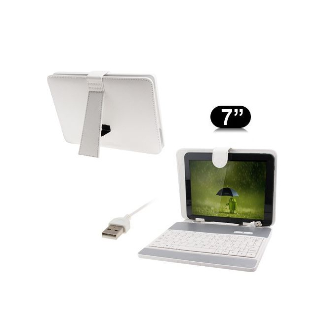 Housse clavier universelle tablette tactile 7 pouces support Blanc - www.yonis-shop.com